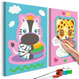 Cuadro para colorear - Cebra y leopardo (en rosa y azul)