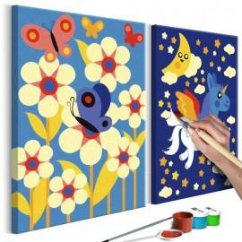 Quadro pintado por você - Butterfly & Unicorn