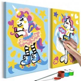Cuadro para colorear - Unicornios divertidos
