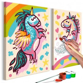 Cuadro para colorear - Unicornios regordetes