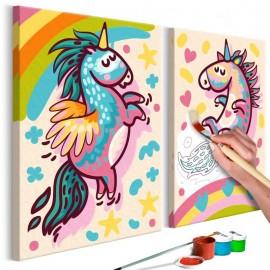 Quadro pintado por você - Chubby Unicorns