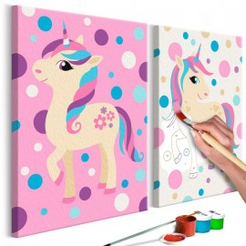 Cuadro para colorear - Unicornios (colores pastel)