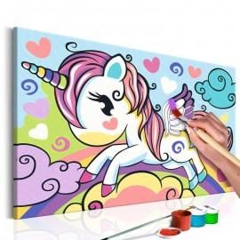 Cuadro para colorear - Unicornio de colores