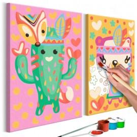 Cuadro para colorear - Cactus y osito