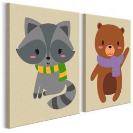 Cuadro para colorear - Mapache y oso
