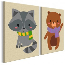 Quadro pintado por você - Raccoon & Bear