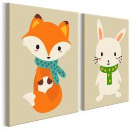 Quadro pintado por você - Fox & Bunny