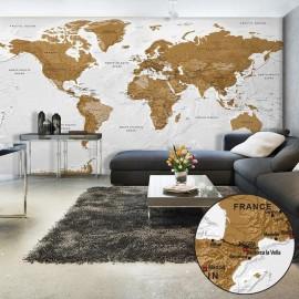 Papel de parede autocolante - World Map: White Oceans II