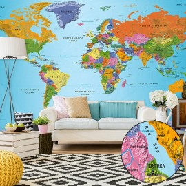 Fotomural autoadhesivo - World Map: Colourful Geography II