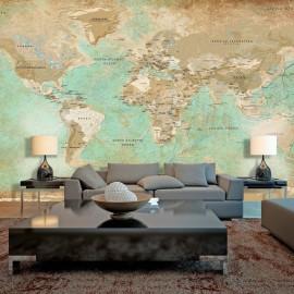 Papel de parede autocolante - Turquoise World Map II