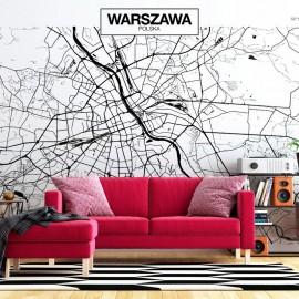 Papel de parede autocolante - Warsaw Map