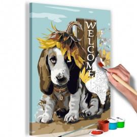 Cuadro para colorear - Dog and Sunflowers