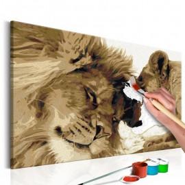 Cuadro para colorear - León y leona (amor)