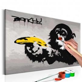 Cuadro para colorear - Mono (Banksy Street Art Graffiti)