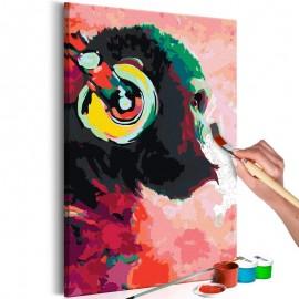 Cuadro para colorear - Mono con auriculares