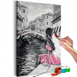 Cuadro para colorear - Venecia (chica del vestido rosa)