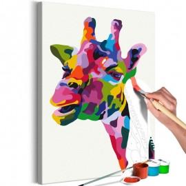 Quadro pintado por você - Colourful Giraffe