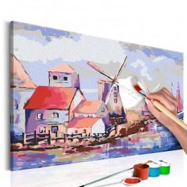 Cuadro para colorear - Molinos de viento (paisaje)