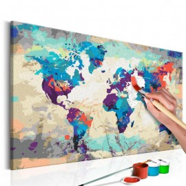 Quadro pintado por você - World Map (Blue & Red)