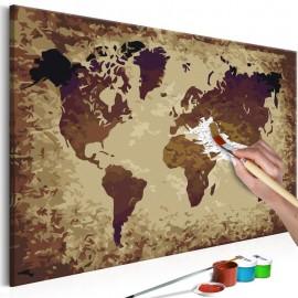 Cuadro para colorear - Mapa del mundo (tonos marrones)