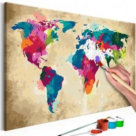 Cuadro para colorear - Mapamundi (de colores)