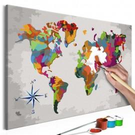 Quadro pintado por você - World Map (Compass Rose)