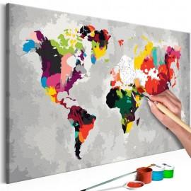 Cuadro para colorear - Mapa del mundo (colores llamativos)