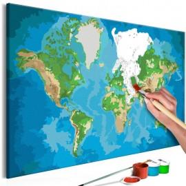 Quadro pintado por você - World Map (Blue & Green)
