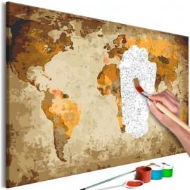 Cuadro para colorear - Brown World Map