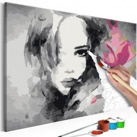 Cuadro para colorear - Retrato en blanco y negro con una flor rosa