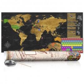 Mapa para rascar - Mapa dorado - cartel (versión en inglés)