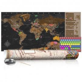 Mapa para rascar - Mapa marrón - cartel (versión en inglés)