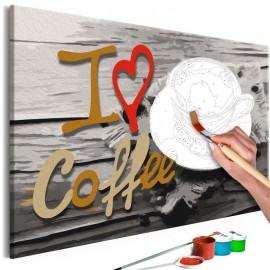 Quadro pintado por você - I Love Coffee