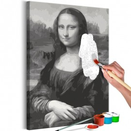 Cuadro para colorear - Black and White Mona Lisa