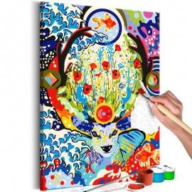 Cuadro para colorear - Deer and Flowers