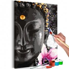 Quadro pintado por você - Buddha and Flower
