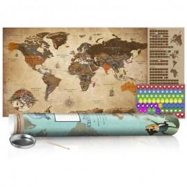 Mapa para rascar - Mapa vintage - cartel (versión en inglés)