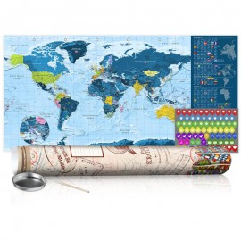 Mapa de raspar - Blue Map - Poster (English Edition)