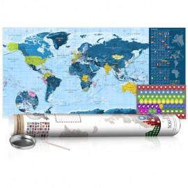 Mapa para rascar - Mapa azul - cartel (versión en inglés)