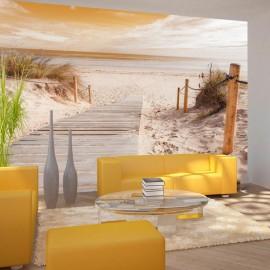 Fotomural autoadhesivo - En la playa - sepia