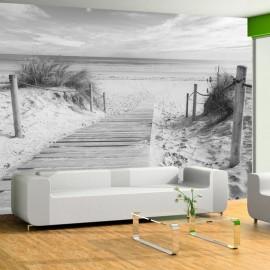 Fotomural autoadhesivo - En la playa - paisaje blanco y negro