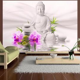 Papel de parede autocolante - Buddha and pink orchids