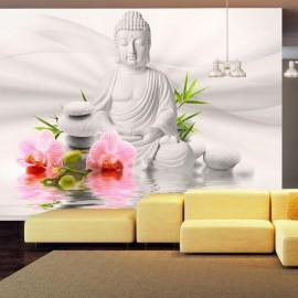 Papel de parede autocolante - Buddha and two orchids