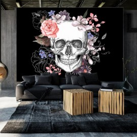 Papel de parede autocolante - Skull and Flowers