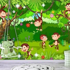 Papel de parede autocolante - Monkey Tricks