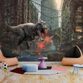 Papel de parede autocolante - Dinosaur in the City