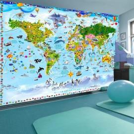 Papel de parede autocolante - World Map for Kids