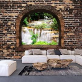Fotomural autoadhesivo - Stony Window: Waterfalls
