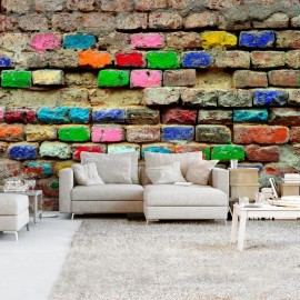 Papel de parede autocolante - Colourful Bricks