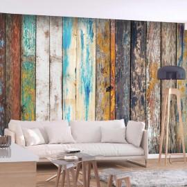 Papel de parede autocolante - Wooden Rainbow